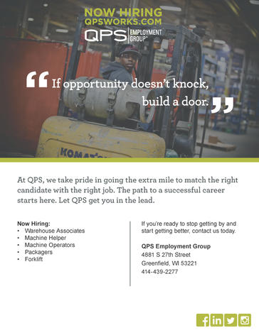 Open Interviews in Greenfield with QPS Employment Group!