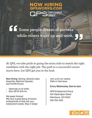 Open Interviews in Manitowoc with QPS Employment Group!