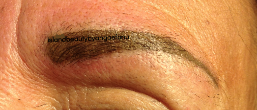 after healed brow tattoo