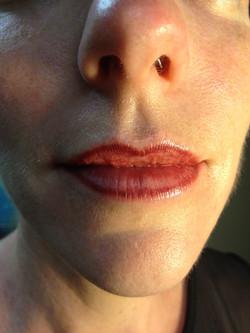 Lipliner tattooed