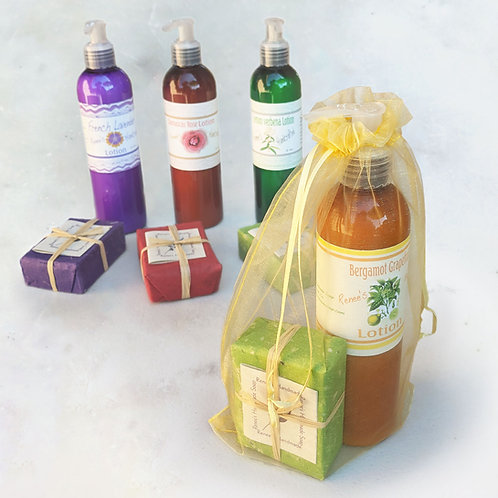 Lotion and matching soap gift set