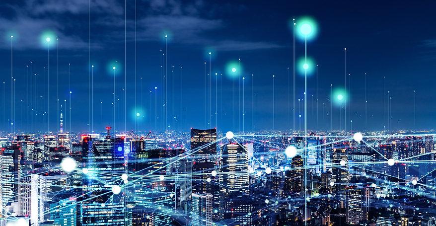 Modern cityscape and communication netwo