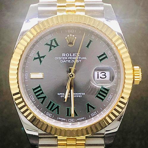 Rolex Datejust 41MM, Steel/Gold, Jubilee, Wimbledon Dial - B&P2018