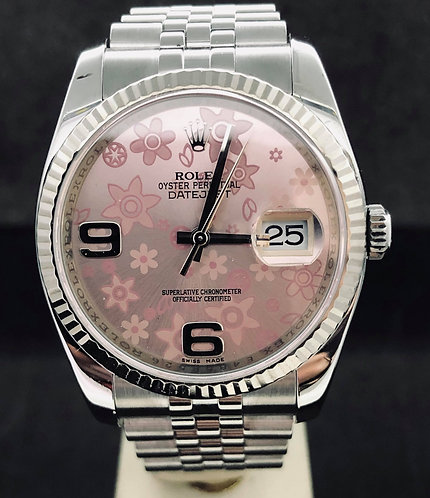 Rolex Datejust 36mm Pink Floral Dial 2018 B&P Mint