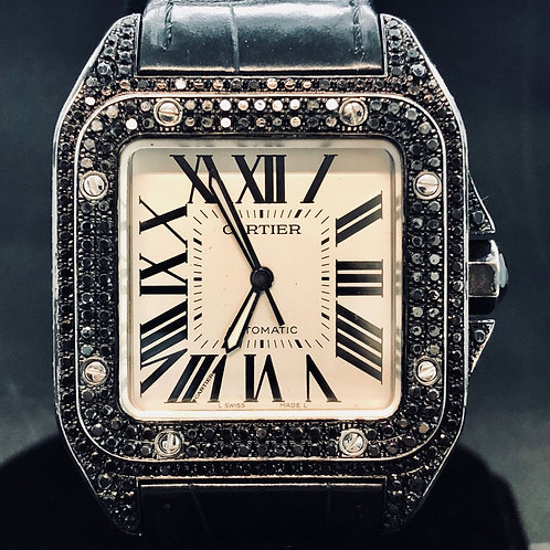 Cartier Santos 100 XL, Automatic, BLACK DIAMONDS,