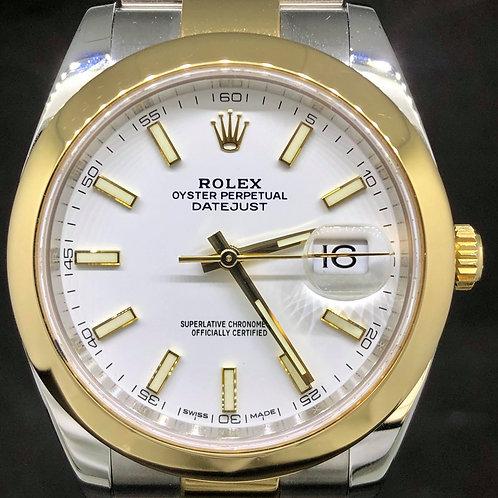 Rolex Datejust 41MM, Steel/Gold, White Dial - B&P2017 - MINT
