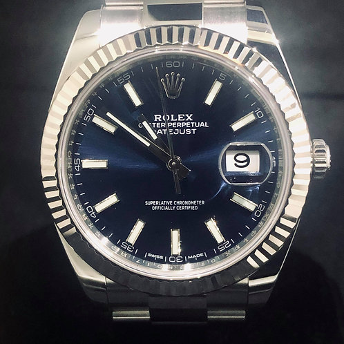 Rolex Datejust 41MM, Blue , Steel/White Gold Bezel, Oyster B&P2018