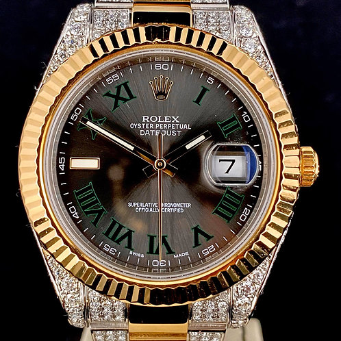 Rolex Datejust II 41MM, Gold/Steel Custom Diamonds Set, Wimbledon Dial