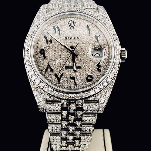 Rolex Datejust II 41MM Custom Fully Iced Diamonds Arabic Jubilee