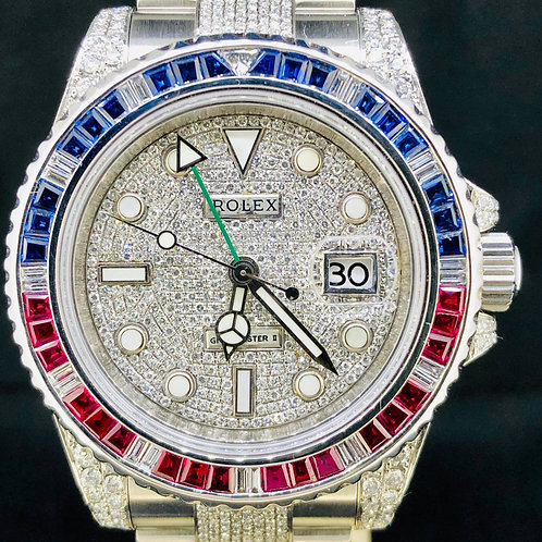 Rolex GMT-Master II, Steel, 40MM, Custom Diamonds/Pepsi, B&P2008