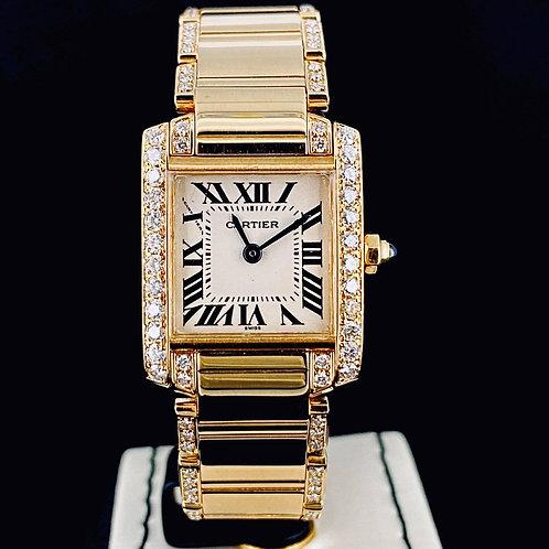 Cartier Tank Française Date Quartz Diamonds Yellow Gold Aftermarket