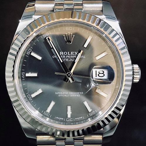 Rolex Datejust 41MM, Grey, Steel/White Gold Bezel, Jubilee B&P2018