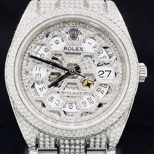 Rolex Datejust II 41 Custom Skeleton Honeycomb ICED Dial & Setting