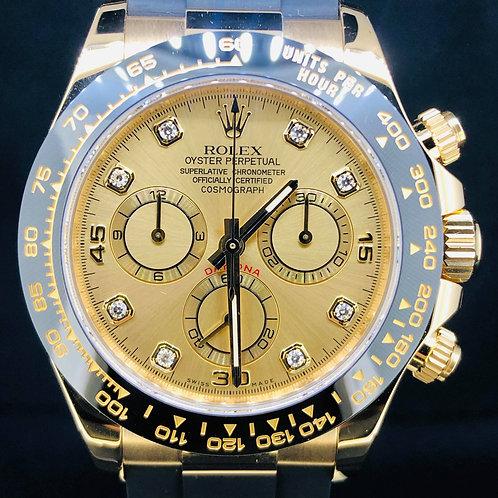 Rolex Daytona Yellow Gold/Ceramic, 40MM Champagne Diamond Dial NEW