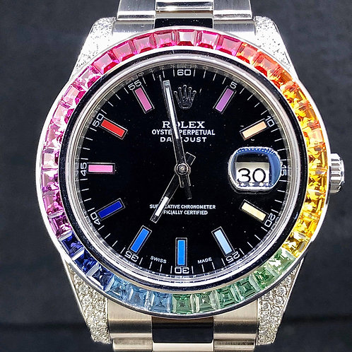 RRolex Datejust II, 41MM, Custom Rainbow Dial&Bezel, Diamond Lugs