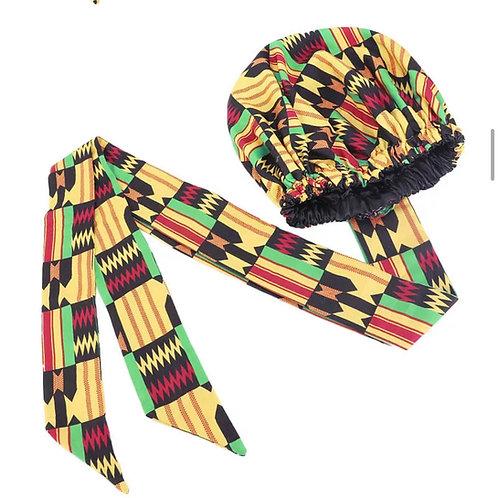 Makeba Bonnet (Silk lined Ankara/ African fabric headwrap)