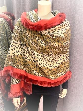 Leopard Design Shawl w/fur trim