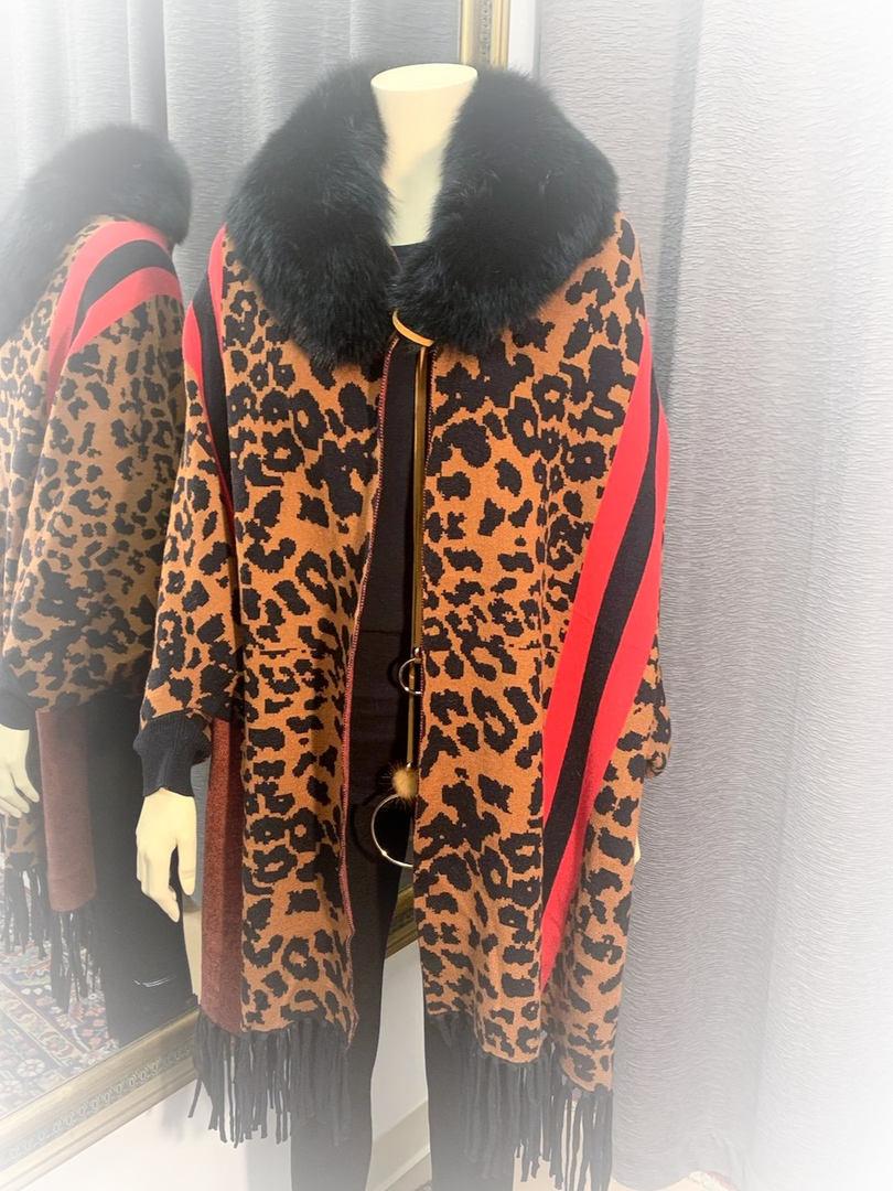 Leopard Patterned Cape w/Fox Collar