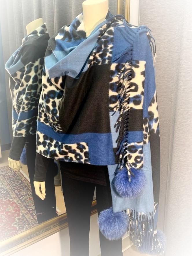 Multi Colored Denim Blue Shawl w/Fox Trim