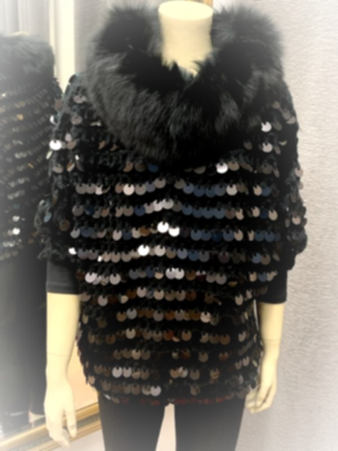 Sequin Pullover with Fox Fur