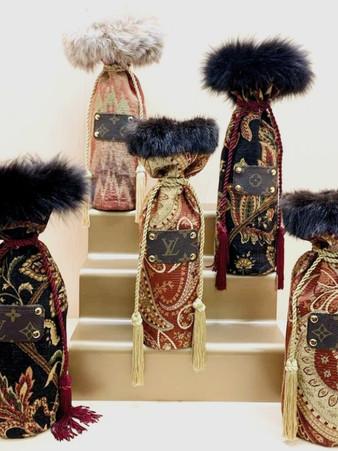 Decorative Brocade Wine Bags