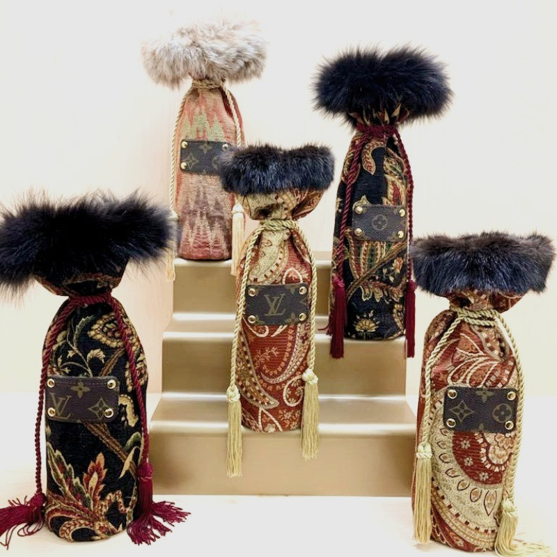 Decorative Brocade Wine Bags