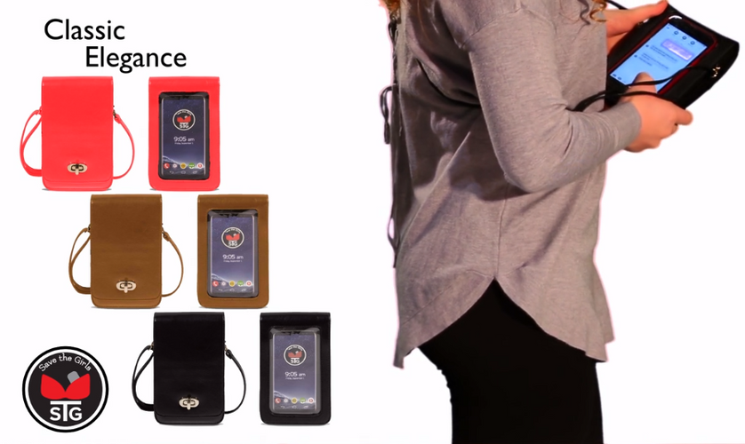 "Perform all touch screen functions while your phone is safe and secure in your stylish ""Save the Girls"" purse!"