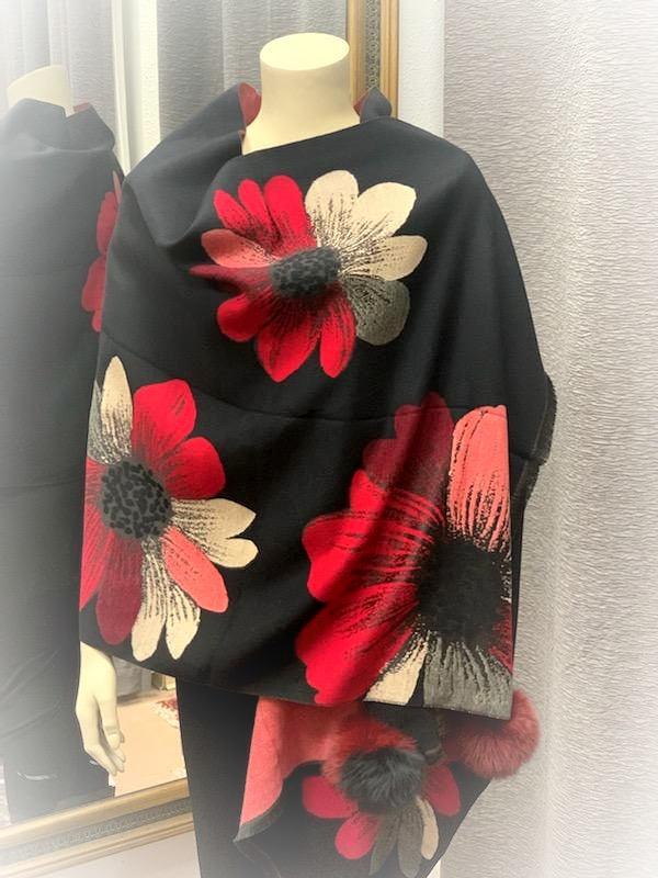 Dynamic Red/Black Flower Shawl w/Fur Trim