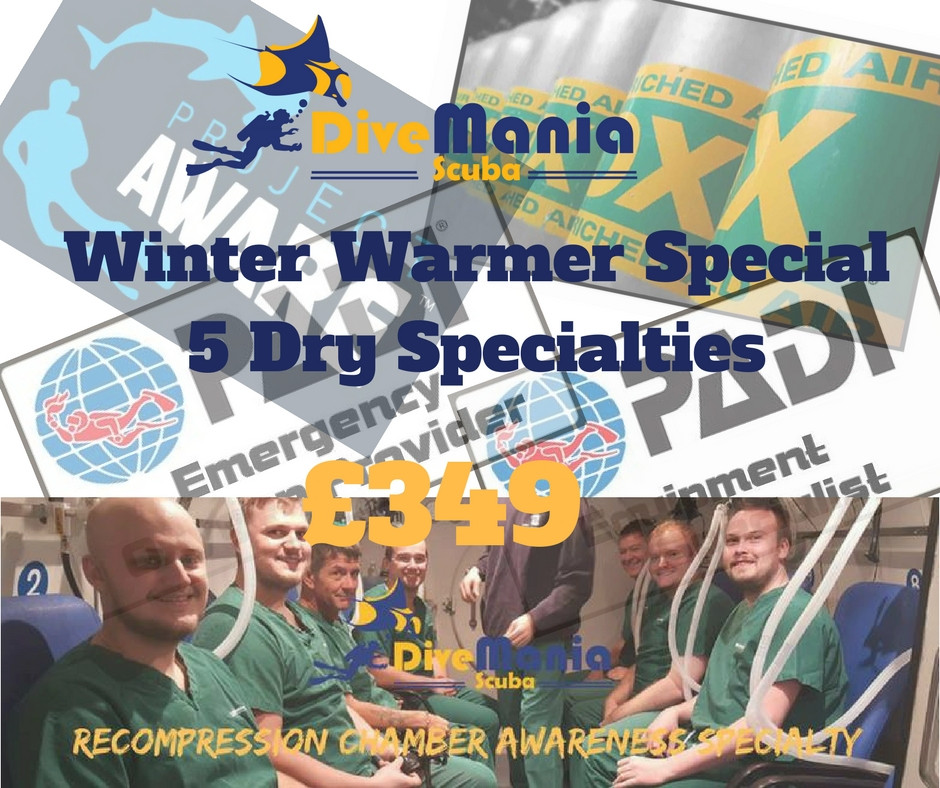 DiveMania Scuba Special Winter Offer - 5 Courses for £349
