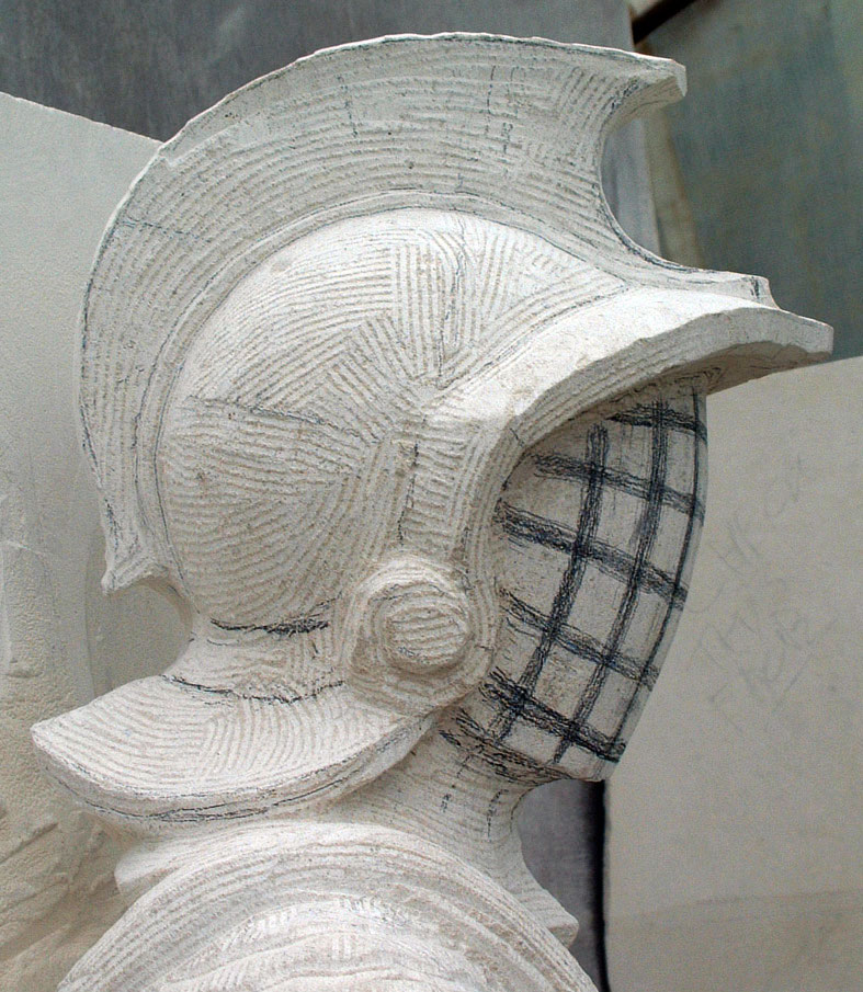 Gladiator helmet roughed in