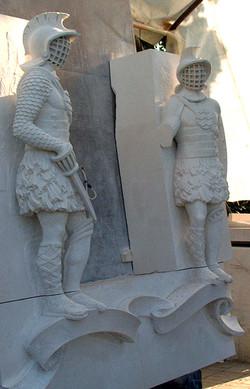 Gladiators on stone easel