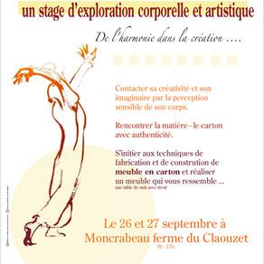 Stage d'exploration corporelle et artistique. Le 26 et 27 septembre 2015