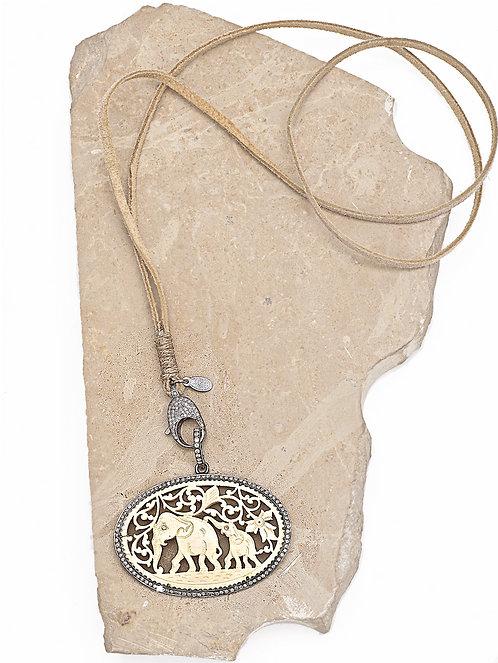Diamond Vintage Carved Bone Elephant Necklace