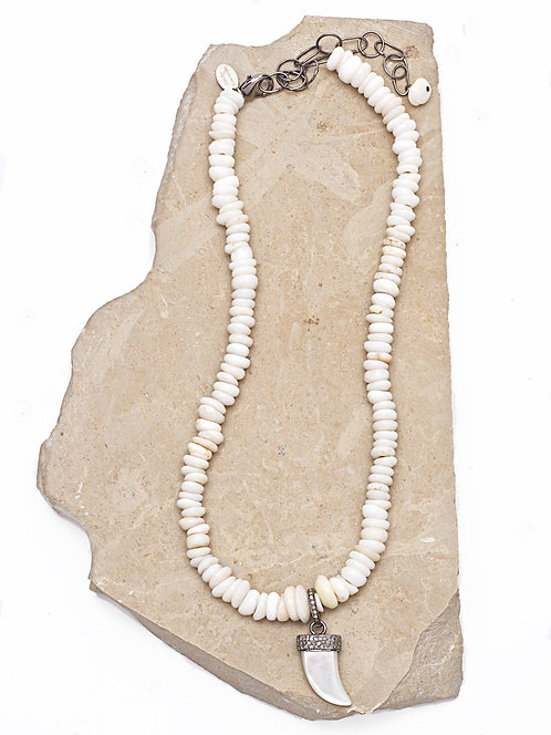 Diamond Mother Of Pearl Claw Puka Shell Necklace