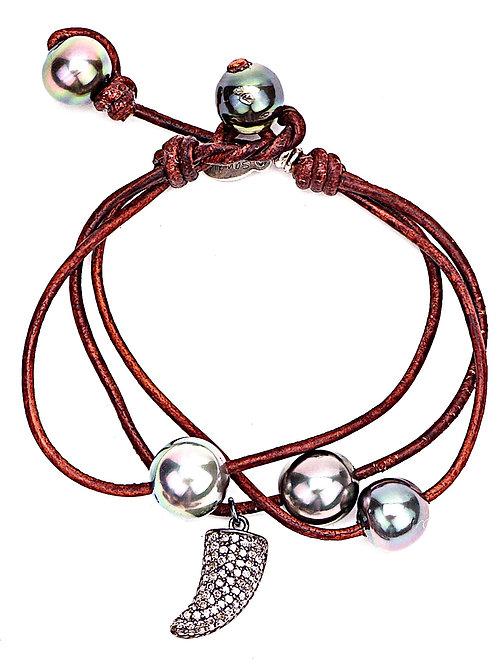 Diamond Horn Tahitian Pearl Leather Bracelet
