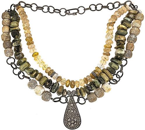 Three Strand Cat's Eye Diamond Necklace