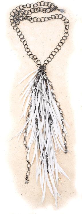 Diamond Crescent Feather Cascade Statement Necklace