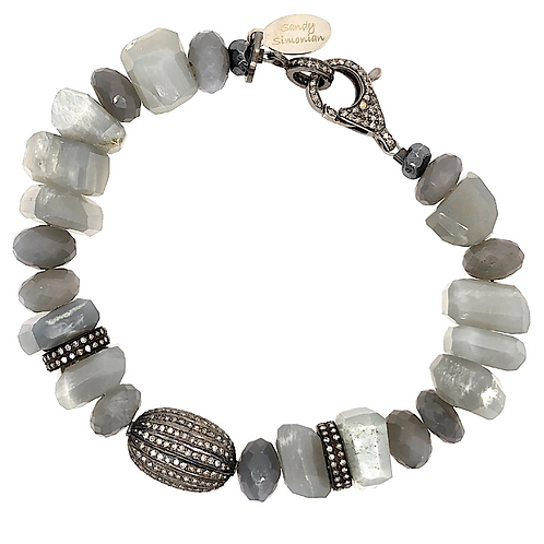 Diamond & Grey Moonstone Nugget Bracelet
