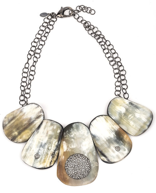 Diamond Disc Horn Statement Necklace
