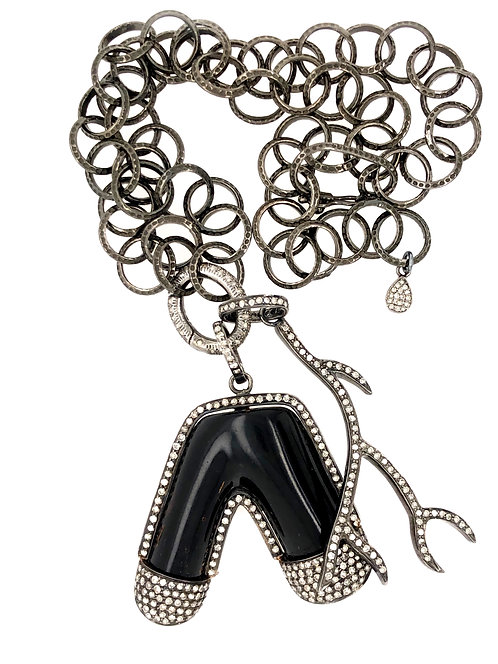 Diamond Black Coral And Branch Chain Necklace