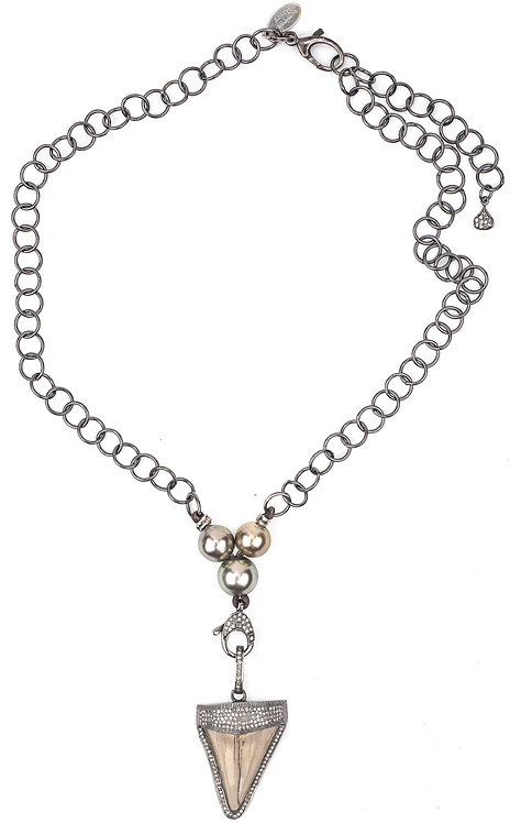 Ancient Diamond Shark Tooth Tahitian Pearl Necklace