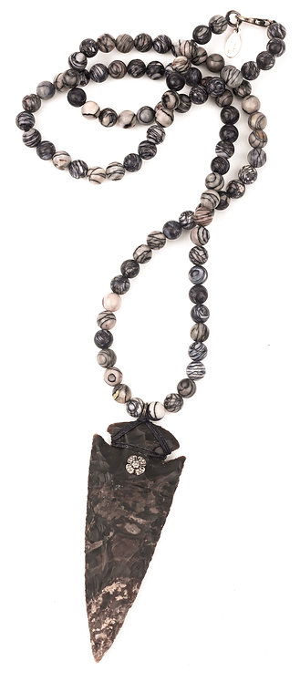 Carved Arrowhead Diamond Flower Jasper Necklace
