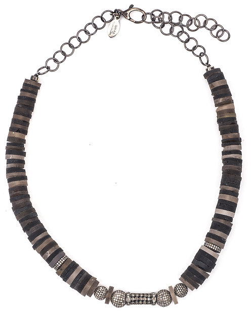 Diamond Tourmaline Disc Necklace