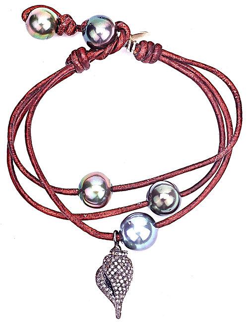 Tahitian Pearl Diamond Seashell Leather Bracelet