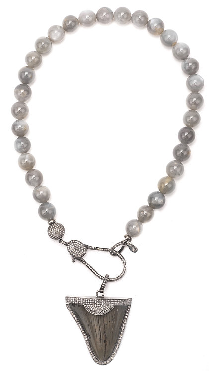 Diamond Ancient Shark Tooth Moonstone Necklace