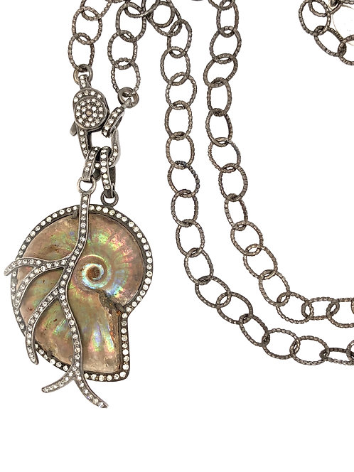 Diamond Fossil Ammonite And Branch Chain Necklace