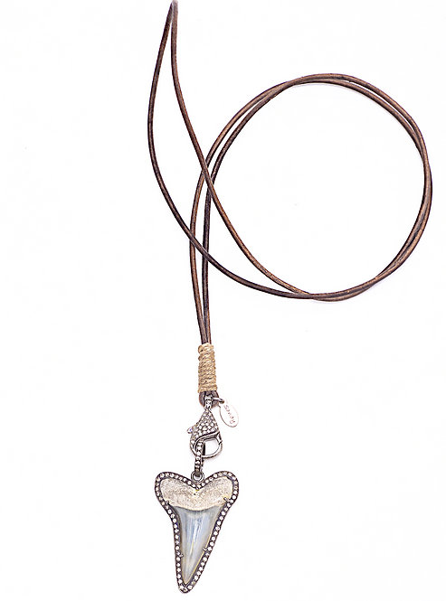 Diamond Shark Tooth & Clasp Leather Necklace