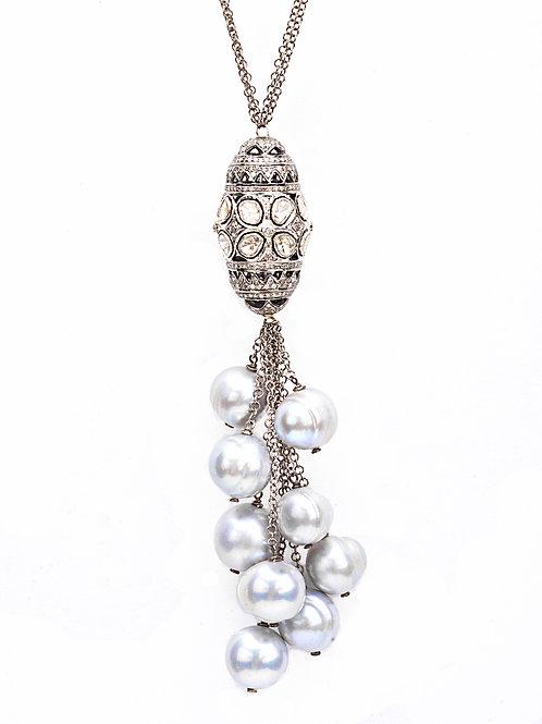Rose Cut Diamond Barrel Dangle Pearl Necklace
