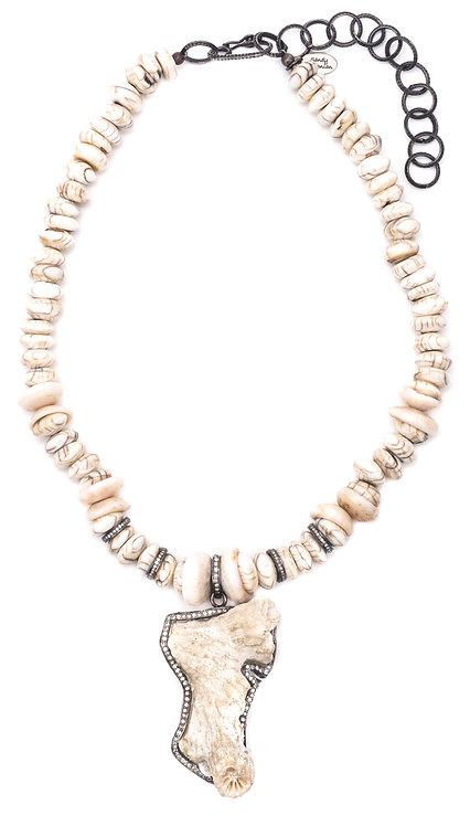 Diamond Coral Puka Shell Necklace