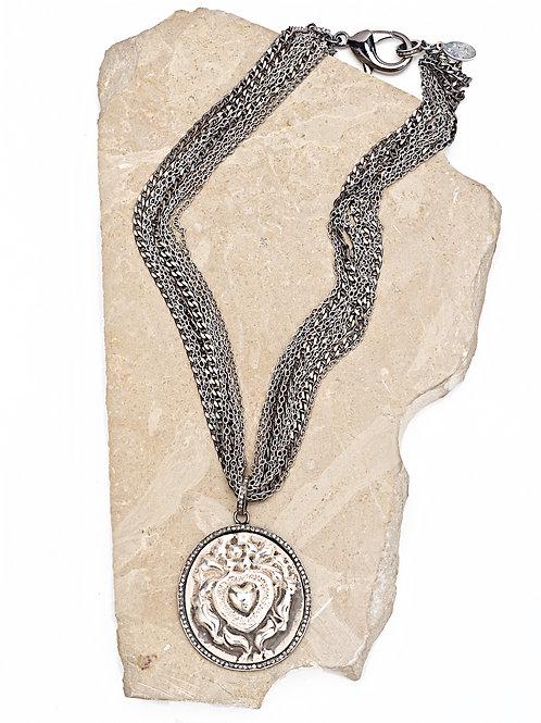 Diamond Antique Love Amulet Multi Chain Necklace
